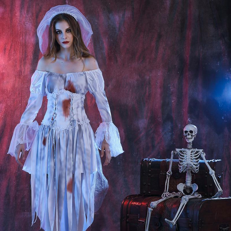 Las mujeres fantasma novia disfraces Halloween fiesta vestido blanco ...