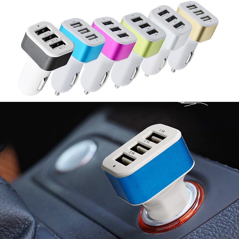 Мода, 3 порта USB автомобиль телефона зарядное устройство адаптер сигареты розетка легче для мобильных телефонов