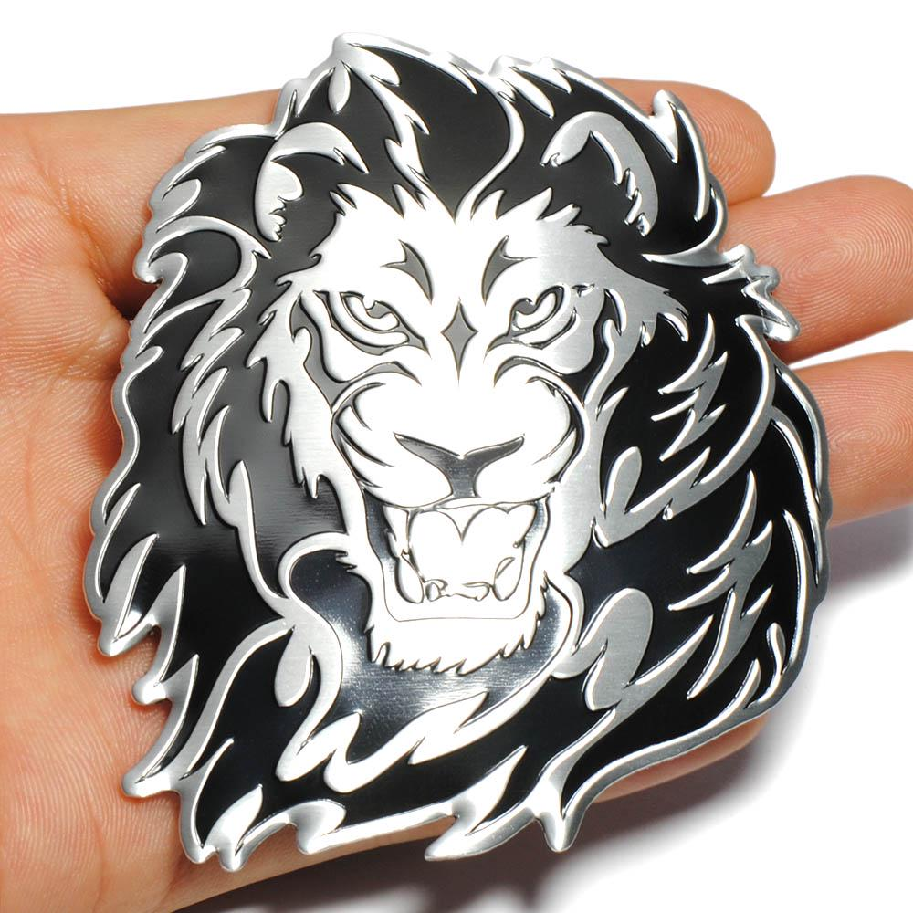 King Tiger Head Shape Metal 3D badge Decal Emblem Decor Sticker Universal Car T