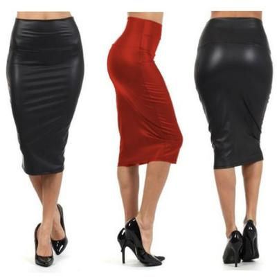 Women PU Leather Skirt High Waist Slim Pencil Skirts Vintage Bodycon Skirt N7