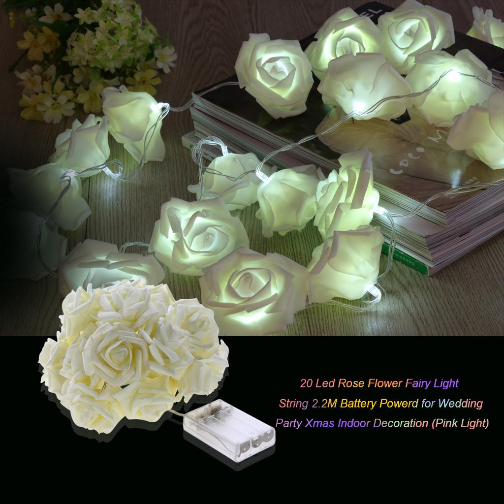 2M 20 LED Artificial Rose Flower Fairy String Lights Home Party Wedding Lamp