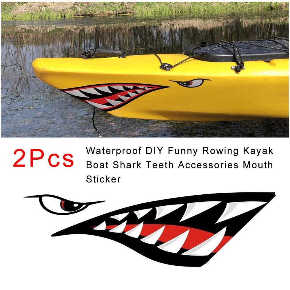 4Pcs Vinyl Shark Teeth Mouth /& Fish Skeleton Decal Kayak Boat Canoe Stickers