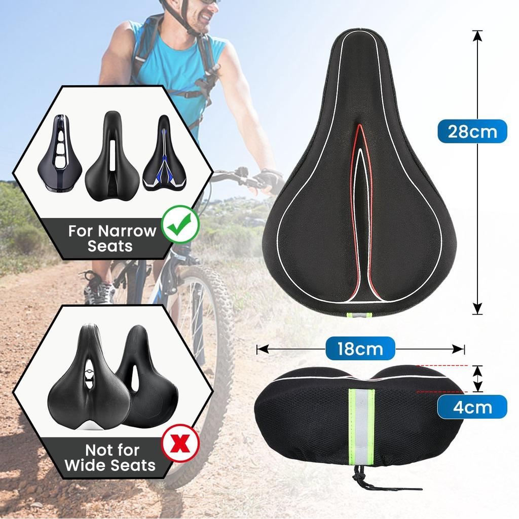 SGODDE Memory Foam Bike Seat Cover Comfortable Exercise Bicycle Saddle Cushion Fits Cruiser and Stationary Bikes Spinning with Waterpoof Cover Extra Soft Bike Seat Cushion for Women Men