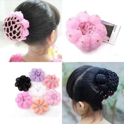 Fashion Elastic Colorful Satin Hair Holder Braids Cover Crochet Hair Sticks Dance Net