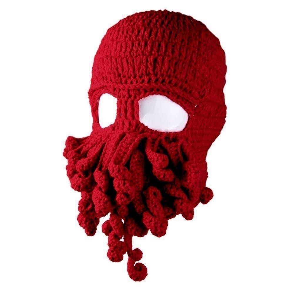 Fashion Novelty Octopus Hat Squid Tentacle Ski Mask Wool Knit ...