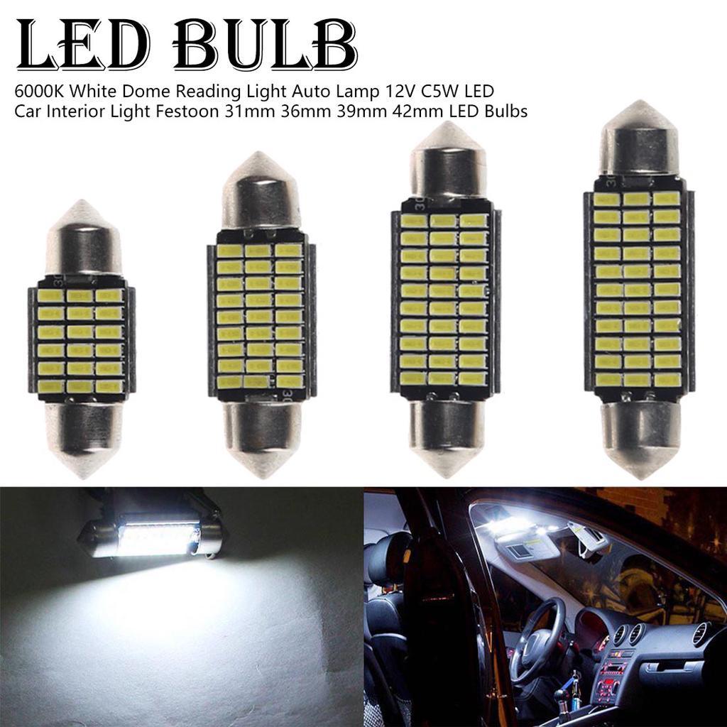 10X CANBUS White 42MM 4 SMD LED 5050 Car Festoon Interior Light Lamp Bulbs Dome