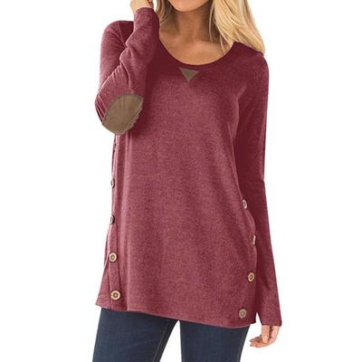 Photno Womens Casual Loose Solid Blouse Irregular Hem Sweatshirt Fashion Long Sleeve Pullover Tops