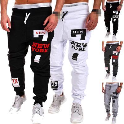 Outdoor Sports Men Jogger Color Block Drawstring Pants Long