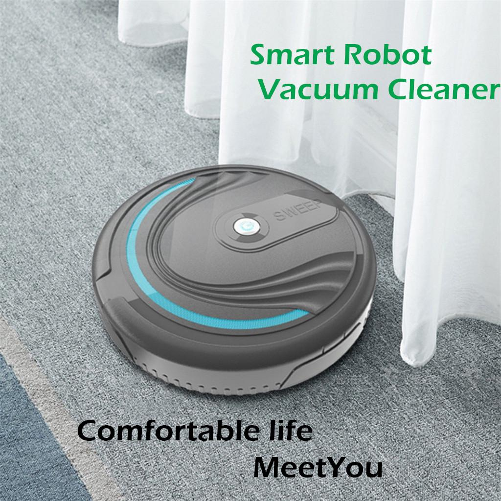 New Household Auto USB Rechargeable Smart Robot Vacuum Floor Cleaner Black