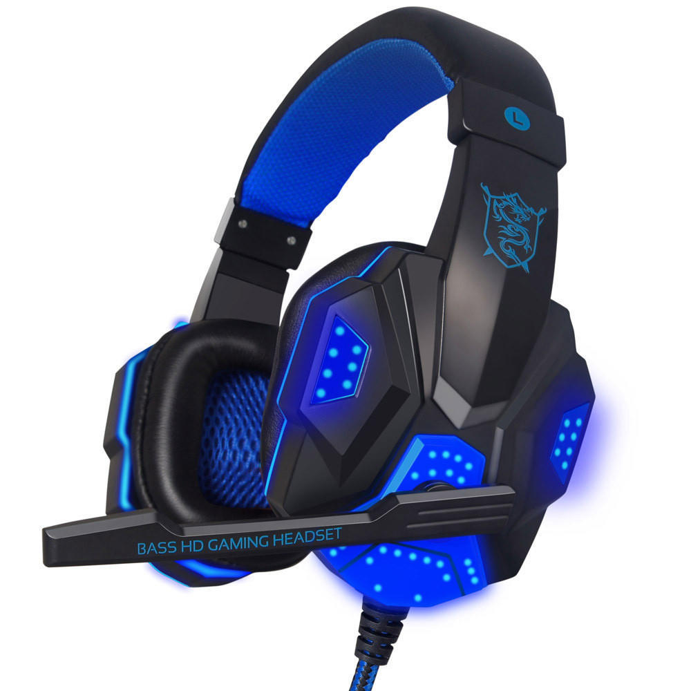 Fashion Gaming Headset Bluetooth Headset-3.5mm USB Wired LED Surround Stereo Gaming Headphone PC Laptop Headset with Mic
