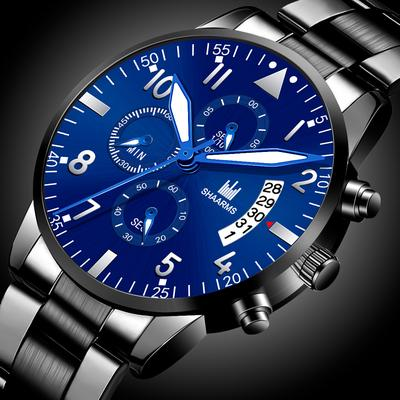 Fashion Men'S Watch Stainless Steel Strap Roman Numeral Quartz Watch Calendar Watch Clock