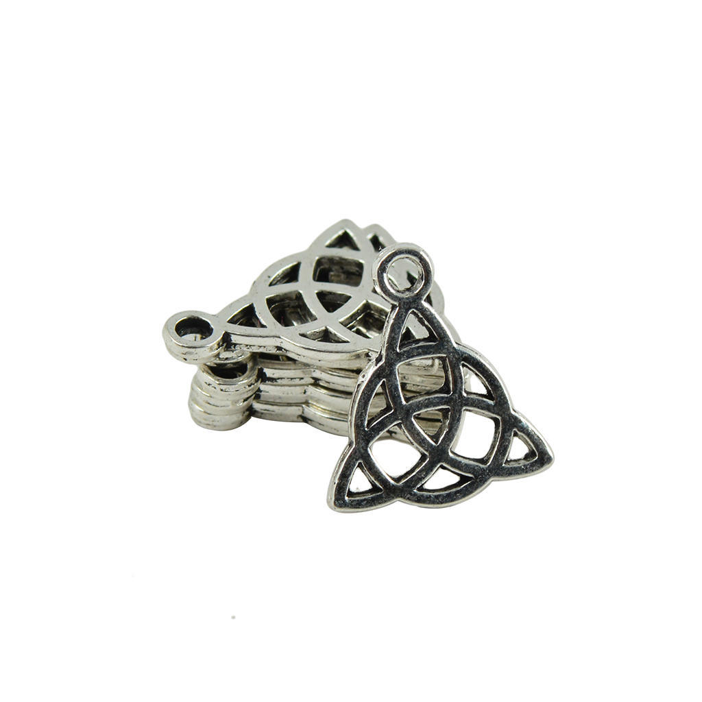 50 Pieces Wholesale Tibetan Silver Triangle Celtic Knot Making Charms Pendant DIY Findings for Necklace Bracelet