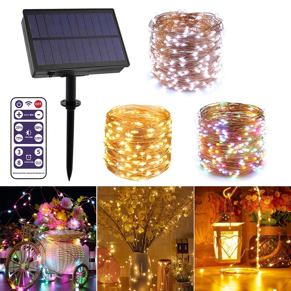 100//200 LED Solar Copper Wire Fairy String Lights Waterproof Outdoor Garden Xmas