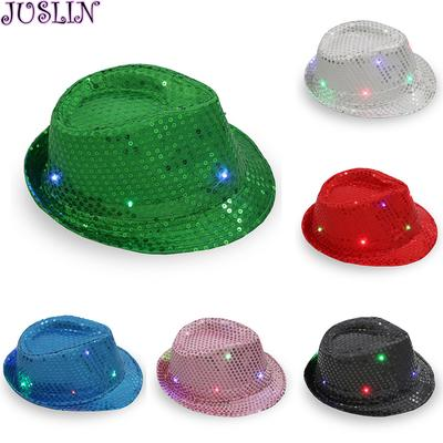 Juslin Flashing Light Up Led Colorful Sequin Unisex Fancy Dress Dance Party  Hat 7333c8b3f2df