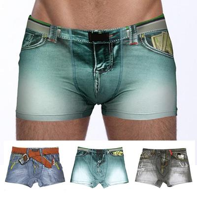Funny Novelty Men's Boxer Trunk Underwear Shorts Adult Denim Printing Jeans Cotton Stretch Underwear