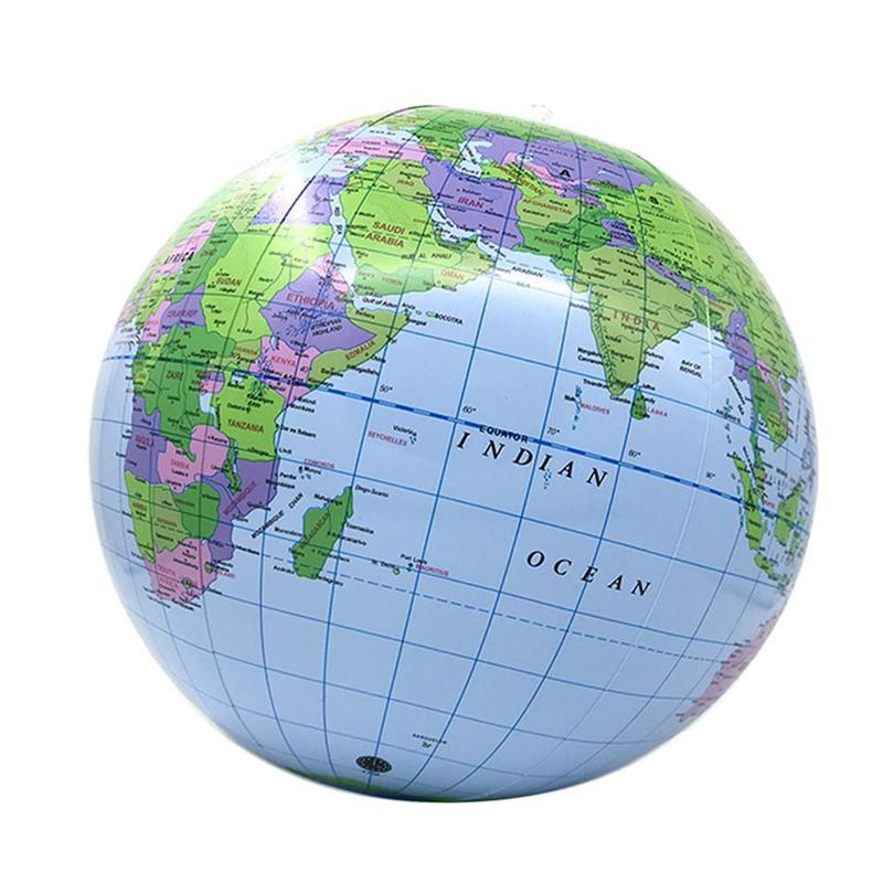 40CM Inflatable World Globe Teach Education Geography Toy Beach Ball Globe Toys for Educational Beach Playing