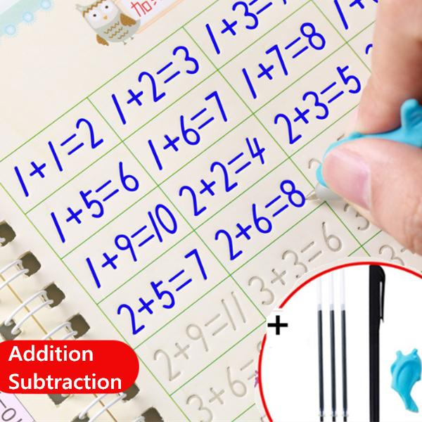 Number and Shapes Workbook for Kids Pens Magic Writing Paste Childrens Kindergarten Grooves Post Before School Handwriting Alphabet English
