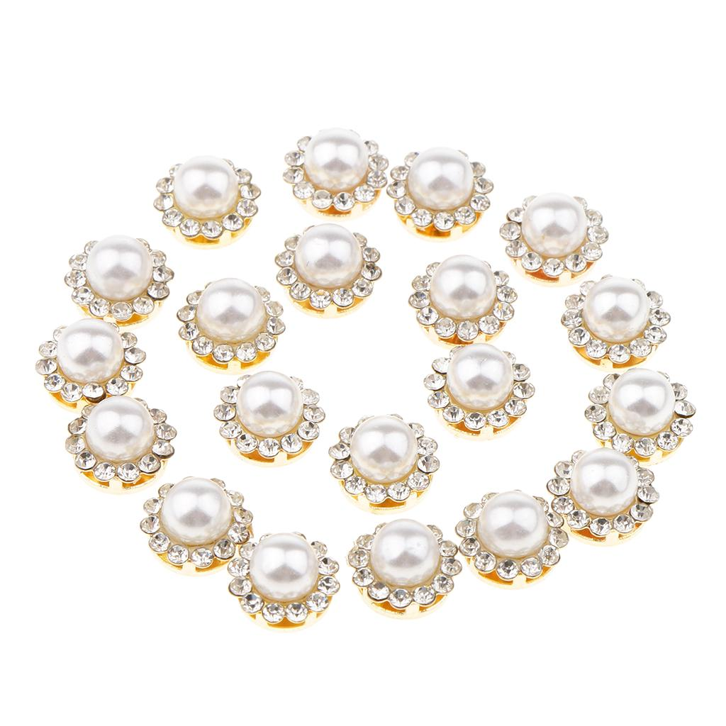 5pcs Sew-on Pearl Rhinestone Buttons Flatback Wedding Crystal Embellishments