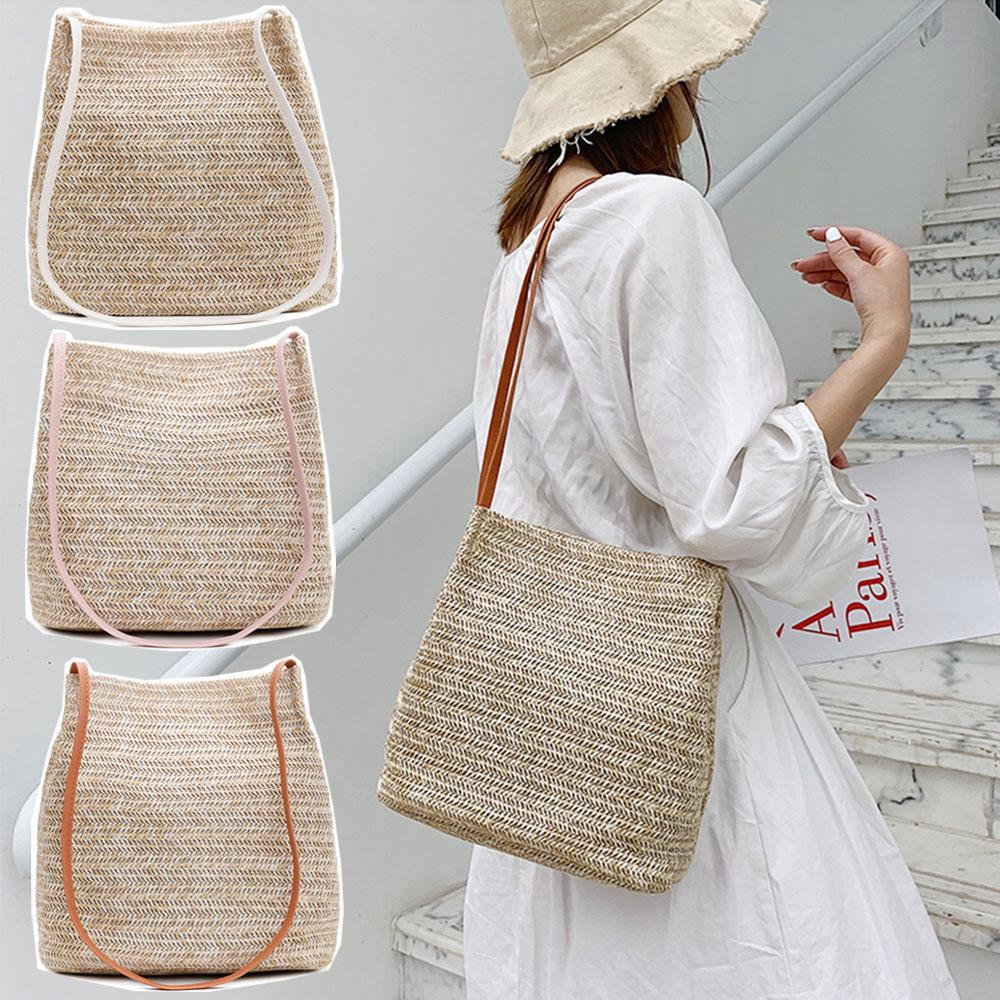 Hot Hot New 2021 round women straw bags rattan lady handbags wicker woven large totes casual summer beach
