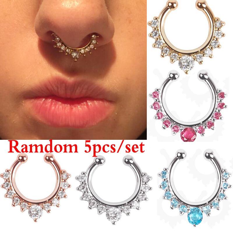 5pcs Spring Non-Piercing Septum Loop Rings Fake Ear Nose Hoops Body Jewelry