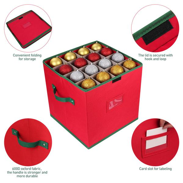 Red Cabilock Christmas Ornament Storage Box with Lid Storage Container Keeps 64 Holiday Ornaments and Xmas Party Decorations Accessories