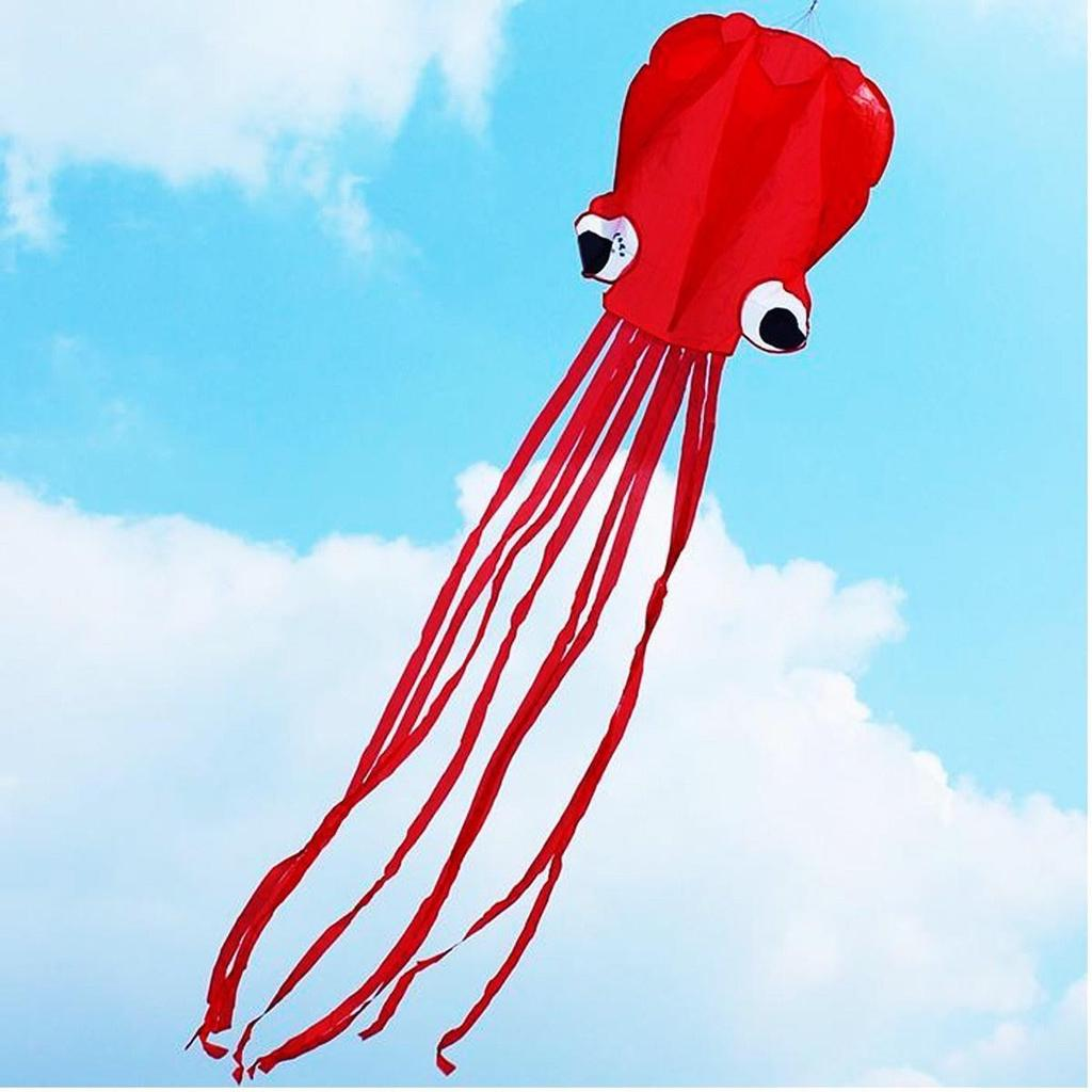 4m Colorful Tail Single Line Stunt Soft Red Octopus Kids Kite POWER Fun Z0D2