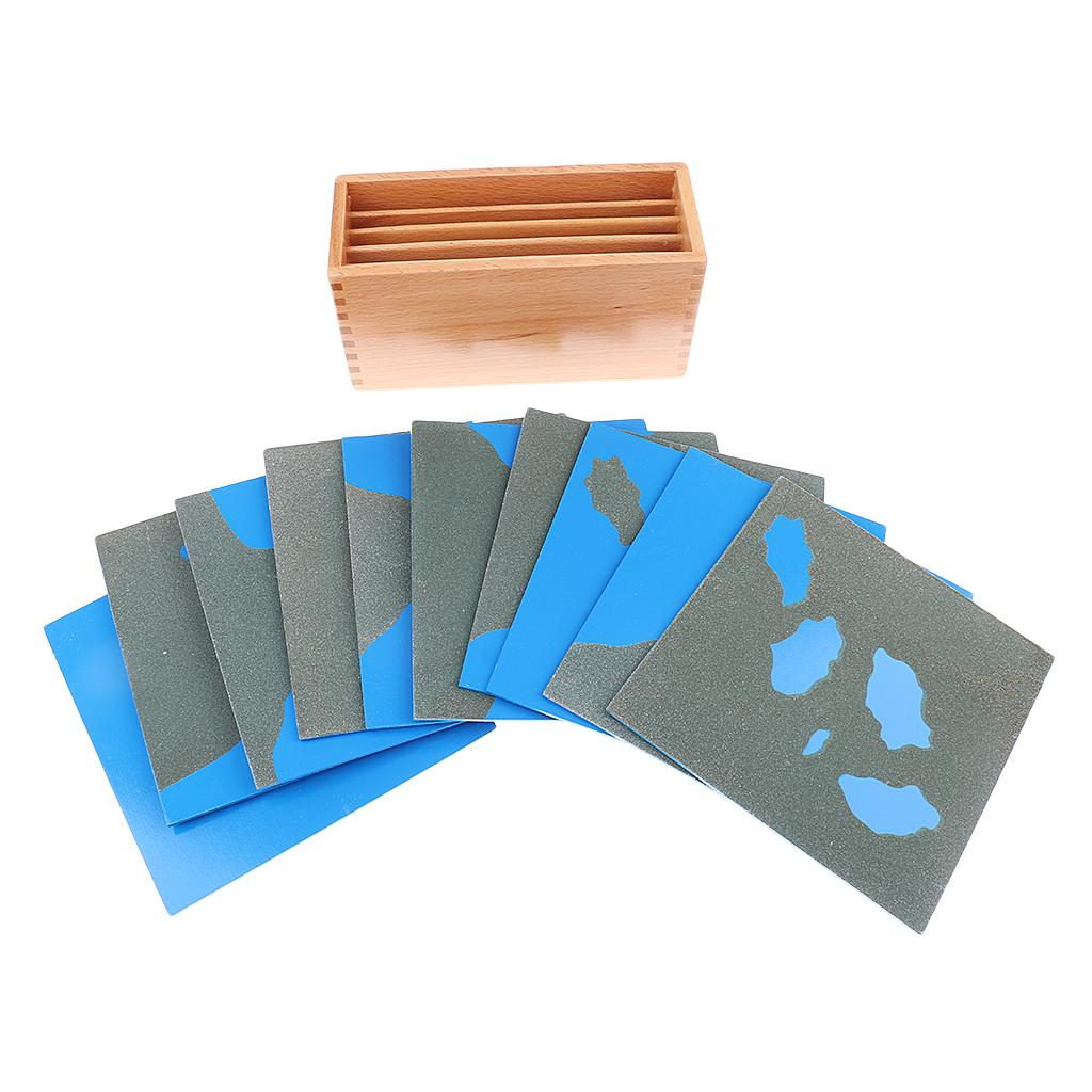MagiDeal Montessori Geography Material Sandpaper Land/&Water Form Cards for Kids Preschool Learning Teaching Toy