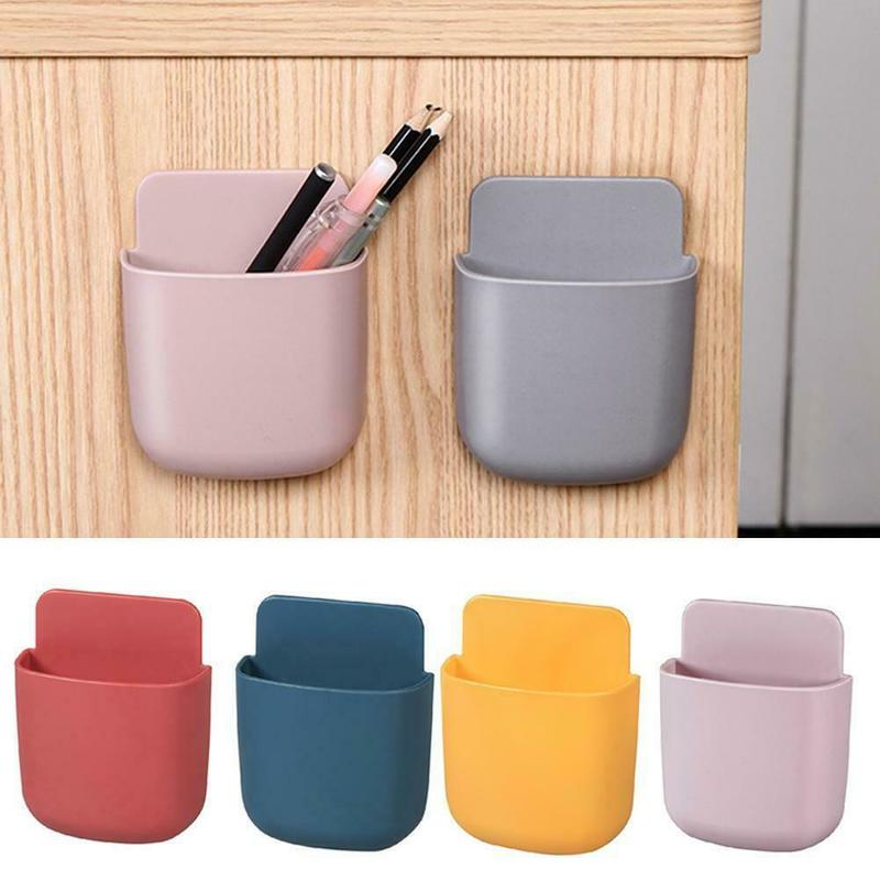 1Pcs Home No Punching Mobile Phone Remote Control Wall Mounted Box Storage Decor