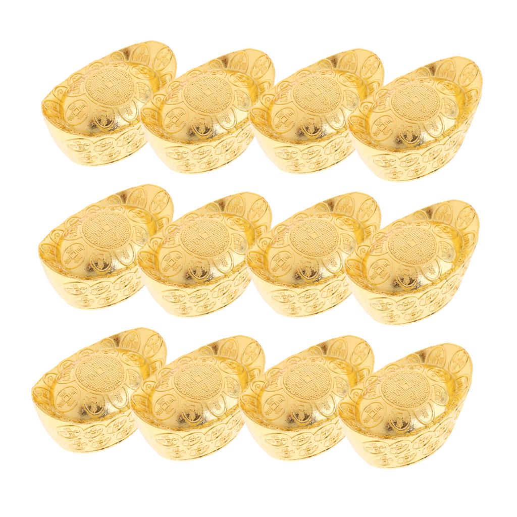 10pcs Lucky Money Golden Ingot Feng Shui Home Desk Decor Auspicious for Fortune