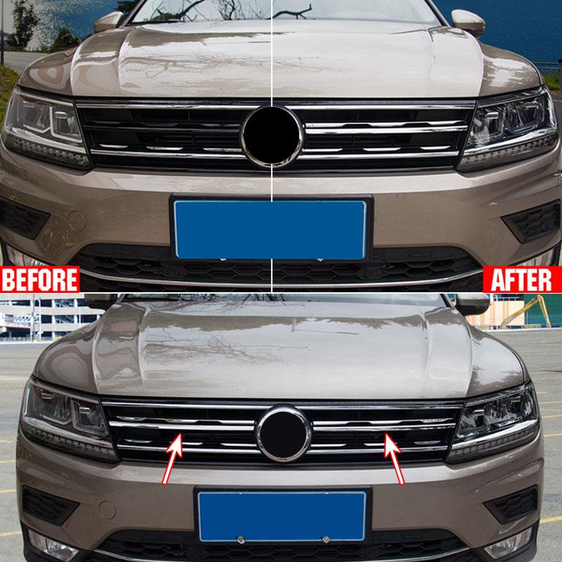 4PCS Chrome Front Fog Light Lamp Frame Trim For Volkswagen VW Tiguan 2017 2018