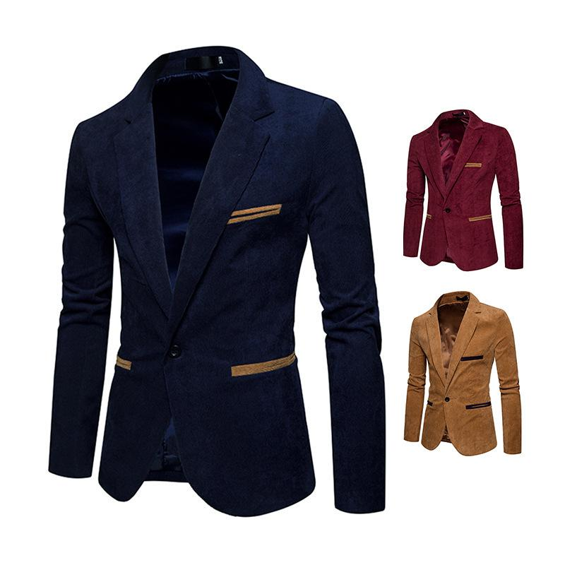 Men Single Breasted Classic Corduroy Blazer Business Suits Autumn Winter Casual Luxury Retro Formal Jacket Size M-XXXL
