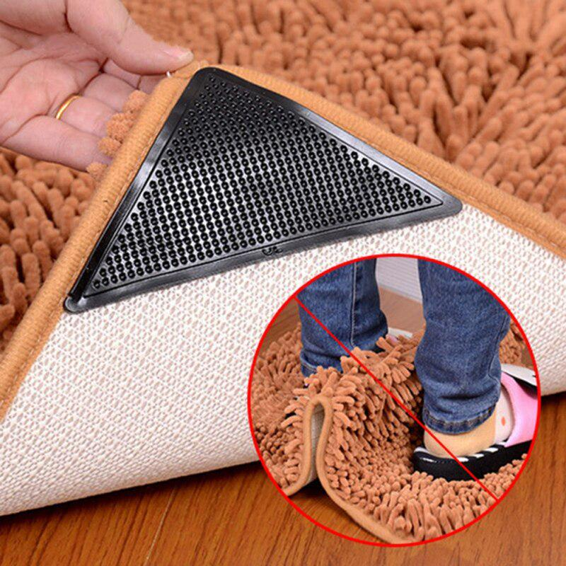 Details about  /Reusable Silicone Tape Rug Carpet Mat Curling Grippers Anti Slip Grip Skid 8Pcs