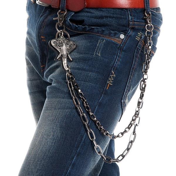 5fa5313f8 Jeans pantalones pantalones correa Rock hombres Hip Hop elefante Punk gótica  llavero de cadena - comprar a precios bajos en la tienda en línea Joom