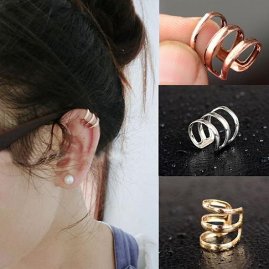Women Ear Cuff Earrings Non-Pierced Wrap Clip On Punk Rock Cuffs Fake Jewelry 5x
