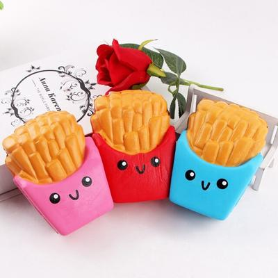 Funny Squishy Toys French Fries/Rainbow Ice Cream Elastic PU Stress Relief Antistress Squeeze Toy