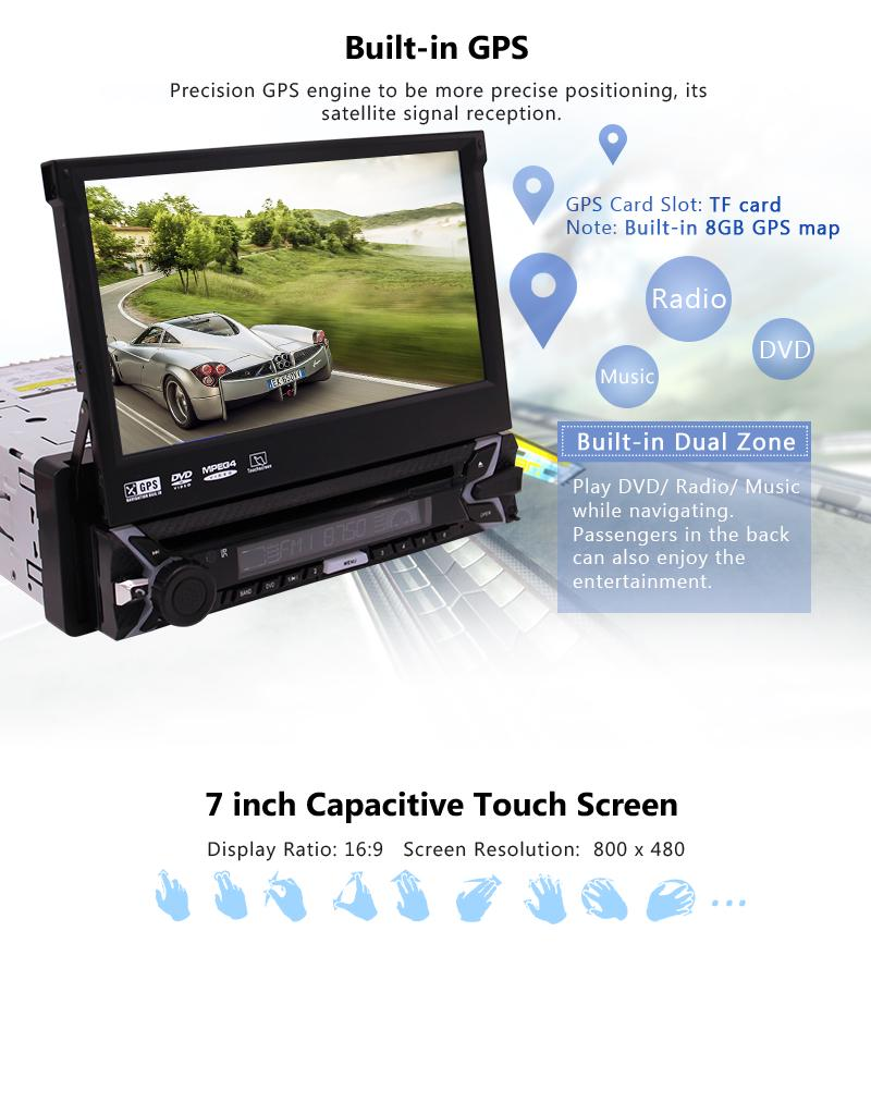 GPS car DVD player single din gps radio 7 inch in-dash detachable panel  anti-theft head unit