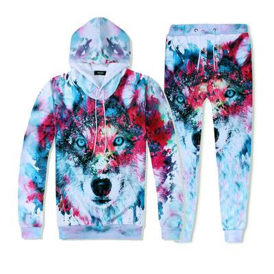 Mens Autumn Winter Tracksuit Suit Galaxy Print Pullover Sweatshirt Top Pants Sets Sport Clothes