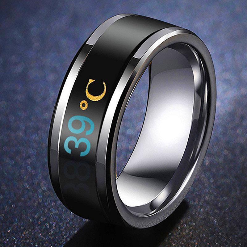Fashion 8mm Men Women Couple Titanium Steel Finger Mood Temperature Display Ring