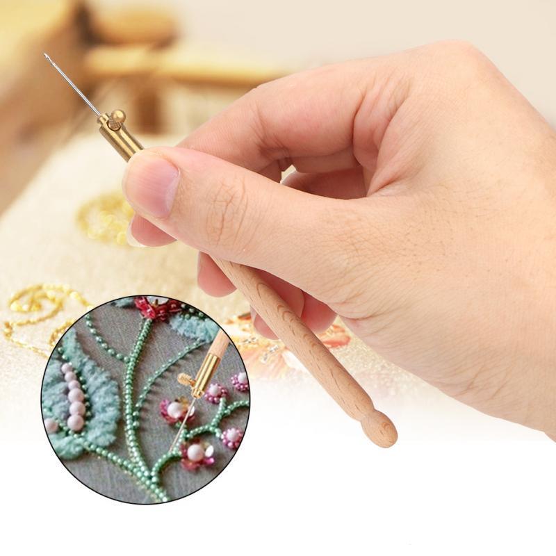 Embroidery Tambour Hook Needle W//3 Needles Beading Crochet Set Tools
