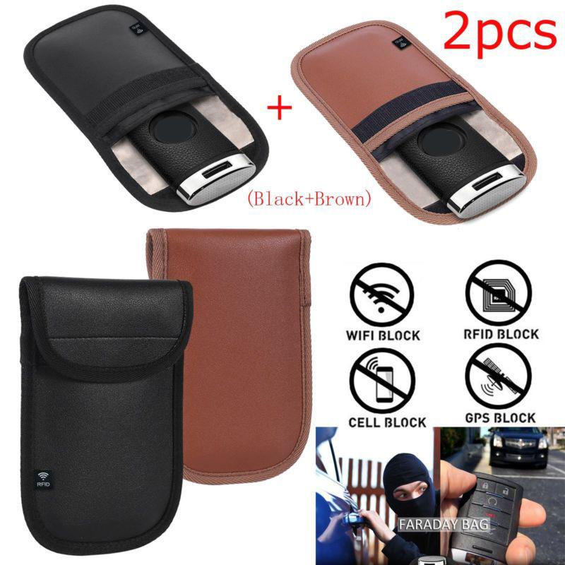 Signal Blocking Pouch for Car Keys /& Phones 2pcs Car Key Signal Blocker Anti-Theft Shield Faraday Case for Car Keys Keyless Entry Fob Guard 1pcs Large Faraday Bag for Cell Phone