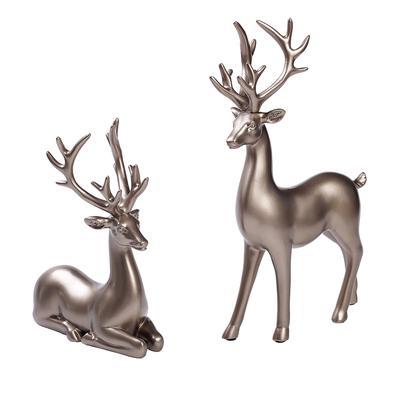 White Deer Elk Stand Statue Figurine Home Garden Tabletop Desktop Collection