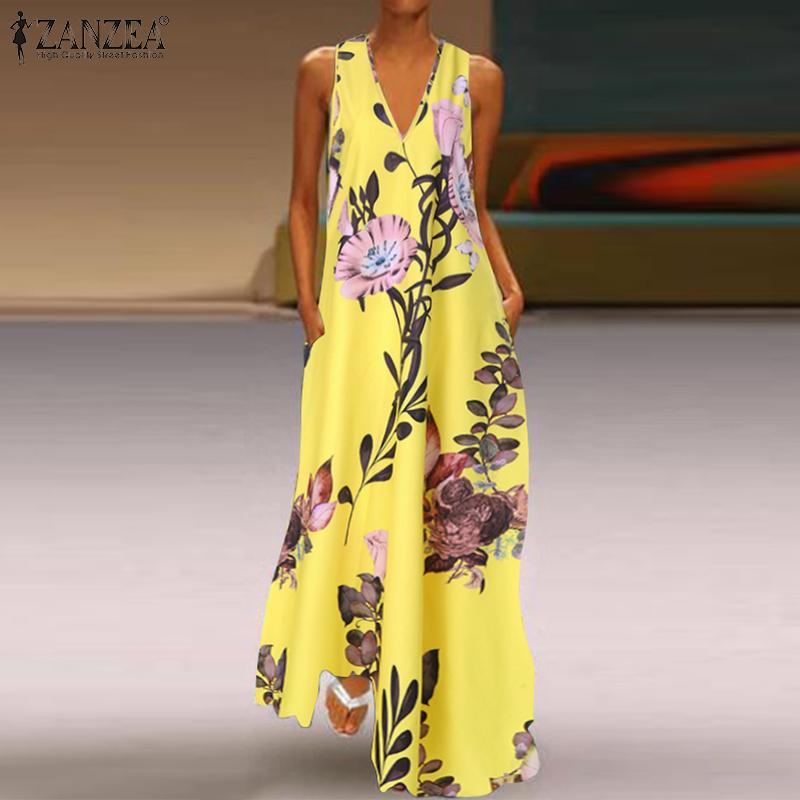 Womens Maxi Boho Floral Long Dress Summer Beach Evening Party Baggy Tunic Kaftan