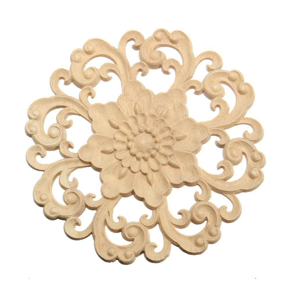 Lots Wood Carved Long Onlay Applique Unpainted Flower Walls Cabinets ...