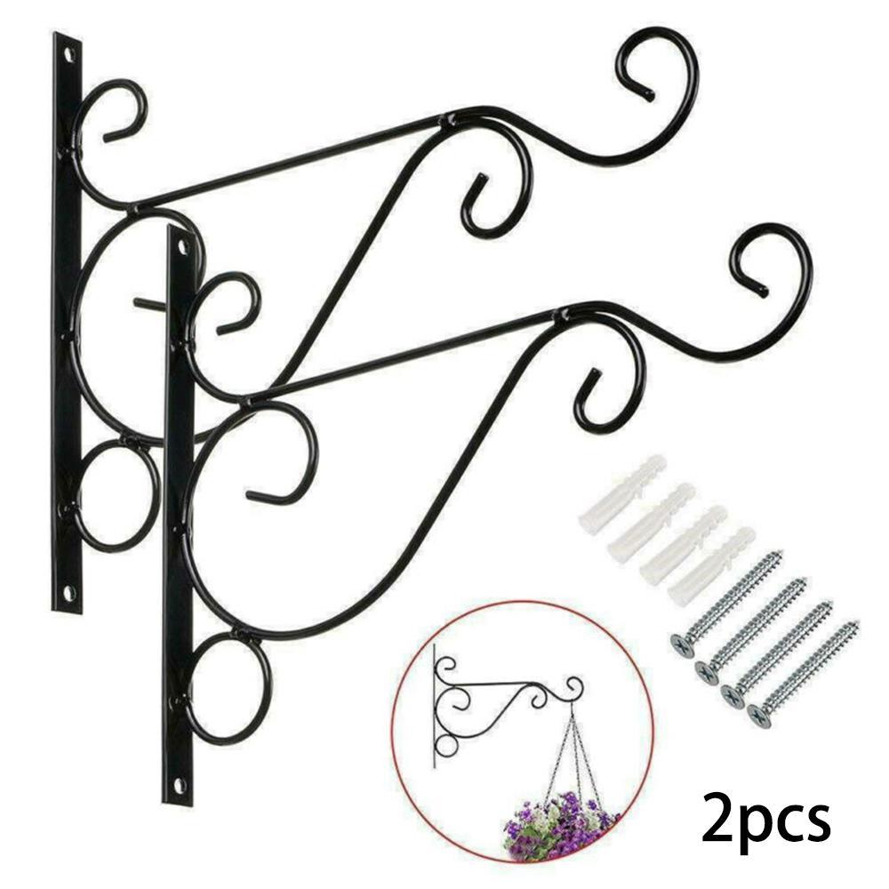2pcs Metal Hanging Basket Brackets Outdoor Garden Plant Hanger Hook Wall Decor