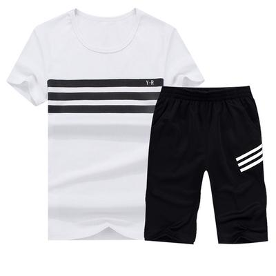 5357e4d8ac3 Short Sleeve Set Men s Summer Slim Casual Sports Youth Trend Half Sleeve  Two-Piece Set