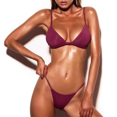 Women Padded Two Pieces Bikini Set Solid Push Up Swimwear Swimsuit