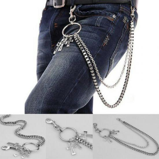 Black Men/'s Heavy Metal Style Biker Punk Thick Denim Accessory Double Chain UK