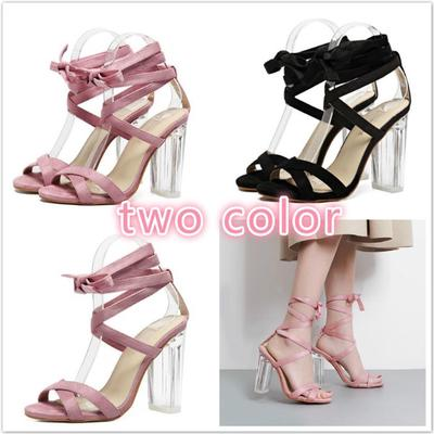 2cd7f50118ea Women Sandals Pink Strap Perspex Heels Clear Crystal Concise Strappy Lace  Up High Quality Rome Woman