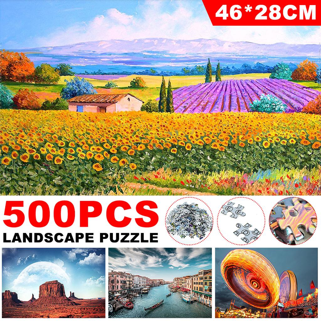 Colorful Street and Car,18/×11 Inch Puzzle 500 Piece Difficult Puzzle Art,Mini Jigsaw Puzzles Landscapes Adults Pieces Fit Together Perfectly,Puzzle Game for Funny Family Games,Home Decoration