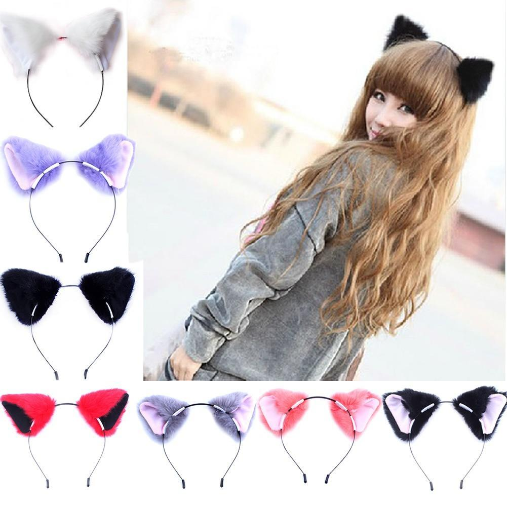 Details about  /Girl Cute Fur Headband Cat Fox Ears Party Costume Cosplay Funny Hair Accessories